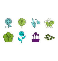 flower icon set color outline style vector image