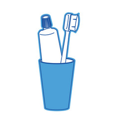 glass with toothpaste and toothbrush in blue vector image