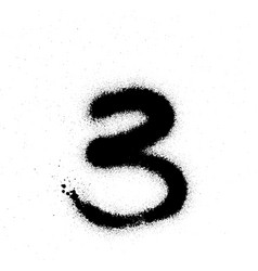 graffiti sprayed number 3 three in black on white vector image