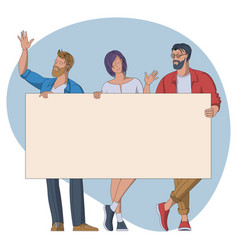 group people with empty banner vector image