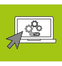 Hand draw laptop gear link web social network vector