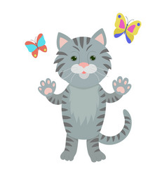hand drawn cat natural colors vector image