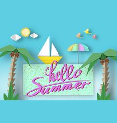Hello summer cute paper symbols vector