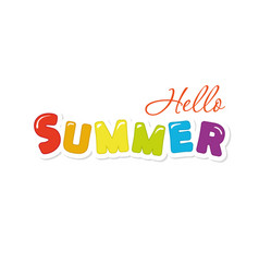 Hello summer festive colorful letters vector
