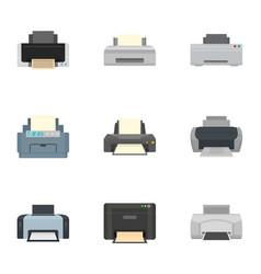 home printer icon set flat style vector image
