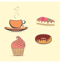 Hot Beverage with Desserts vector image