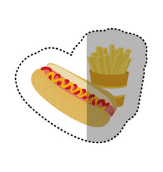 Hot dog and fries french icon vector