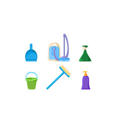 household cleaning supplies set vacuum cleaner vector image