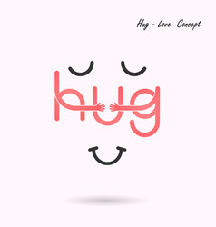 Hug typographical and hand iconembrace or hug vector
