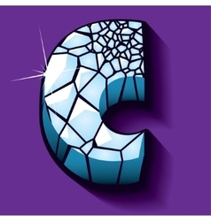 Ice font -letter C vector image