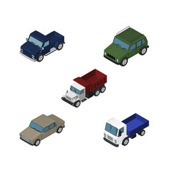 Isometric automobile set of armored lorry suv vector