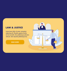 Law and justice flat landing page template vector