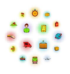 logistics comics icons vector image