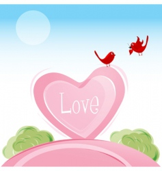 love birds in valentine card vector image