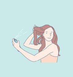 Making hairdo hair volume beauty procedure vector