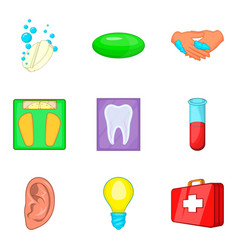 Medical expertise icons set cartoon style vector