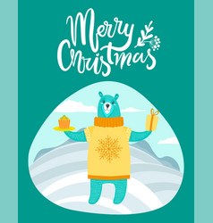 Merry christmas card with bear on winter landscape vector