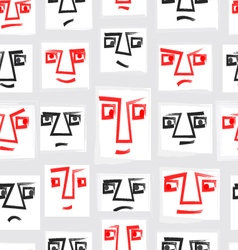 Original Seamless Pattern With Faces EPS10 vector image