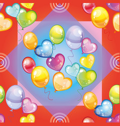 pattern with colorful balloons on red background vector image