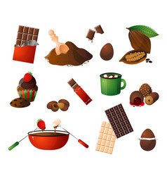 pieces shavings of chocolate different choco vector image