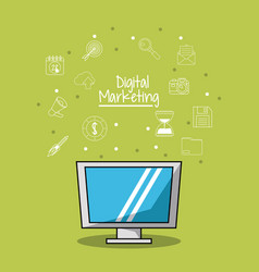 Poster of digital marketing with lcd monitor and vector