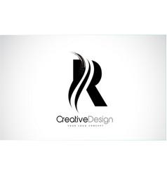 R letter design brush paint stroke vector