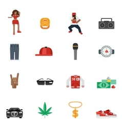 Rap music flat icons vector
