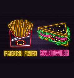 retro neon sandwich and french fries sign on brick vector image