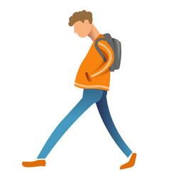 Sad teenage boy with rucksack walking male vector