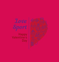Sale of sports equipment valentines day vector
