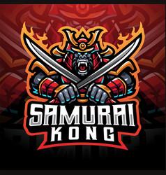 samurai kong esport mascot logo vector image