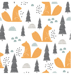 Seamless pattern with squirrel creative woodland vector
