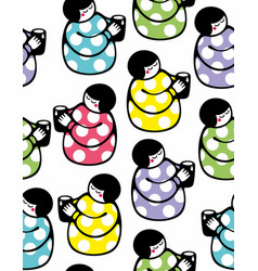 Seamless pattern with young woman and cup of milk vector
