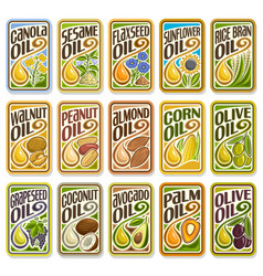 Set labels for cooking oil vector
