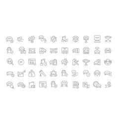 set line icons automobile business vector image