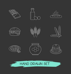 Set of food icons line style symbols with honey vector