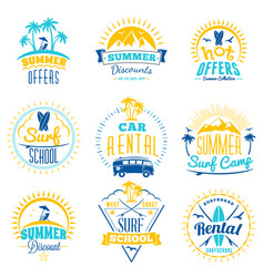 set of summer sale promotional emblem design vector image