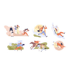 set scenes hectic pace life flat vector image