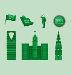 Seven saudi national day icons vector