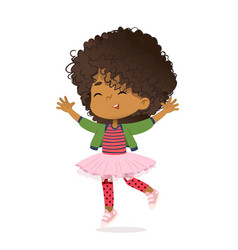 Smiling african american girl happily jump vector