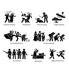 social problems and critical issues stick figure vector image