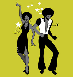 soul party time young couple dancing soul funk or vector image
