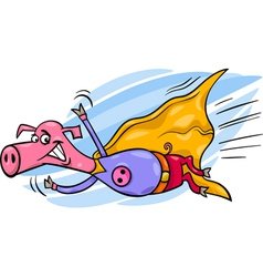 super pig cartoon character vector image