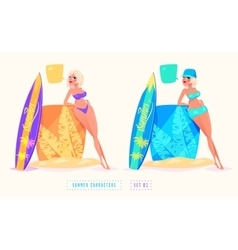 Surfing girl cartoon character Isolated vector