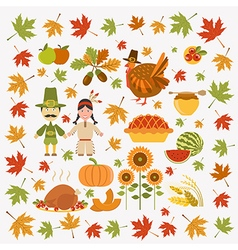 Thanksgiving day icon set Flat style vector