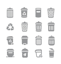 Trash can and recycle bin icons garbage vector