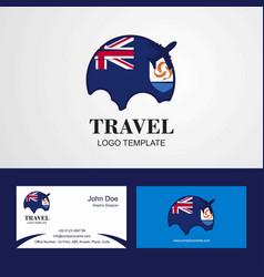 Travel anguilla flag logo and visiting card design vector