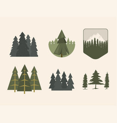 Tree outdoor travel pine silhouette coniferous vector
