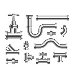 Tubes and piping plumbing and canalization vector