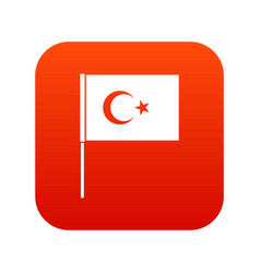 turkish flag icon digital red vector image